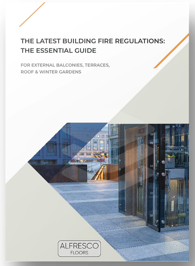Front cover | Guide to latest building fire regulations | Alfresco Floors